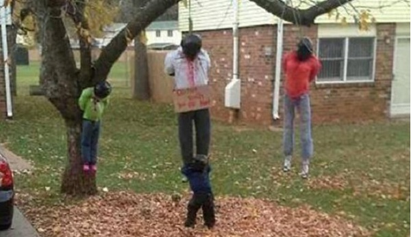 controversial home halloween display showing black lynching