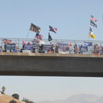 Trump Supporters Gather Waving MAGA Flags on California Highway Overpass