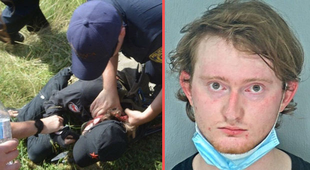 antifa thug matthew banta curled up in a ball and  began crying  when caught by cops