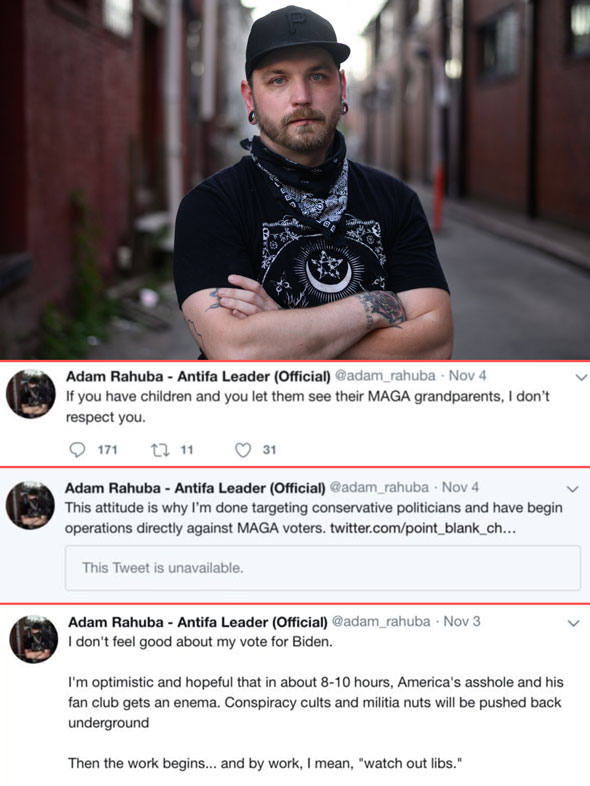 adam rahuba s twitter posting history shows a theme of anti conservative hatred