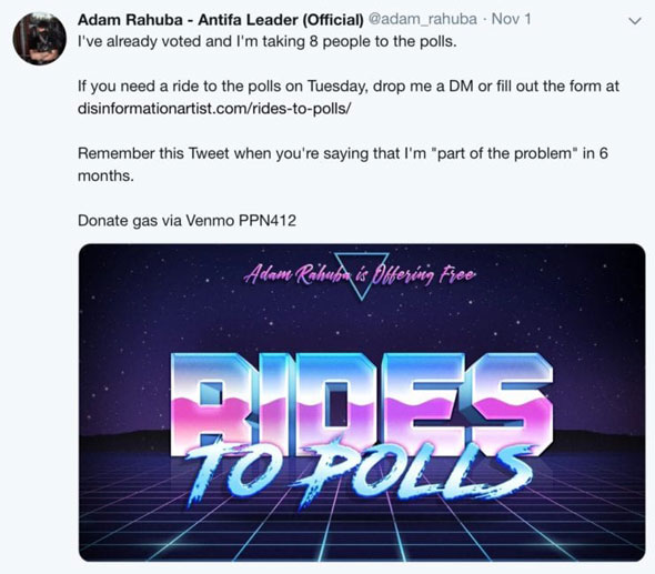 adam rahuba tweeted about giving people  rides to the polls