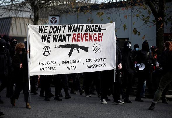 antifa rioters declared   we don t want biden   we want revenge