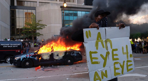 the attack comes as cities across america are ravaged by violent black lives matter riots