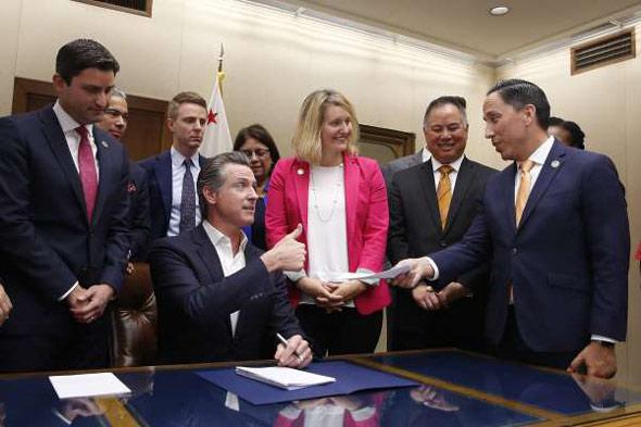democrat gov  gavin newsom signed the bill into state law