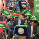 De Blasio Mocked By Protest During 'Green New Deal' Rally in Trump Tower