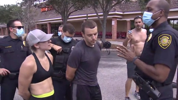 gym owners mike and jillian carnevale were arrested for not forcing their customers to wear masks while exercising