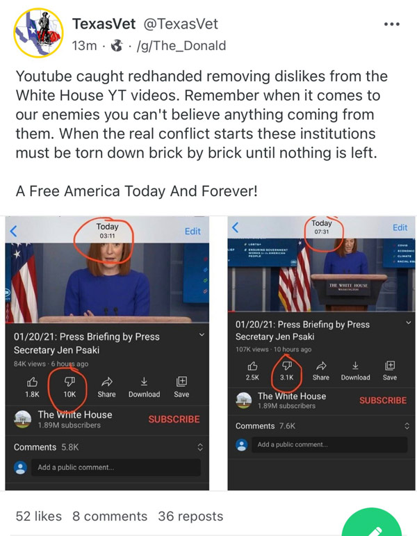every single video posted by white house   s official youtube channel has seen a ratio of more downvotes than upvotes