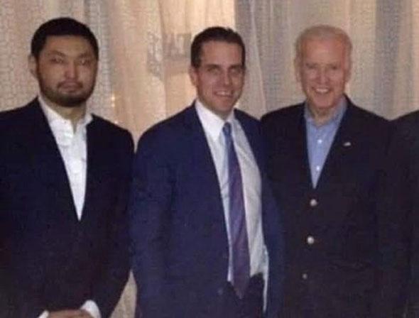 hunter and joe biden pictured with kazakh oligarch kenes rakishev   hunter s alleged business partner