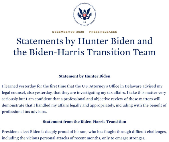 the investigation was acknowledged by the biden camp in a wednesday statement