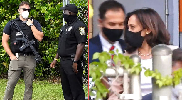 kamala harris wants to ban assault rifles and defund police  except when they are protecting her