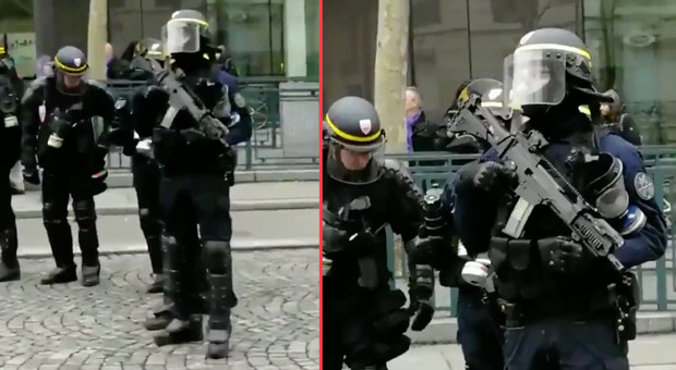 french riot police carrying  anti terrorist  assault weapons have been deployed to deal with yellow vest