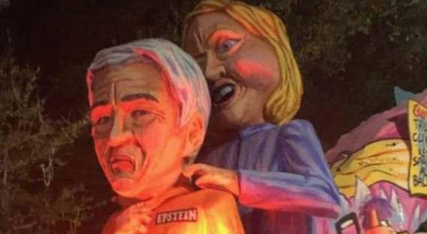 Mardi Gras Float Depicts Hillary Clinton Strangling Jeffrey Epstein - WATCH