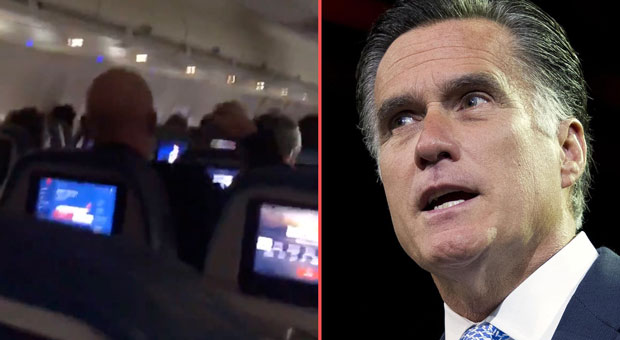 sen  mitt romney boarded the plane that was packed with trump supporters