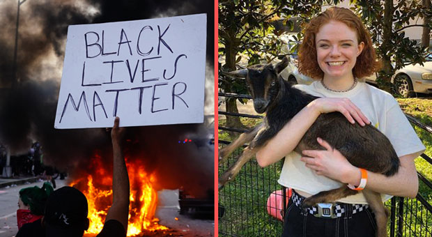 20 year old rich kid clara kraebber was arrested for destroying property during blm riots