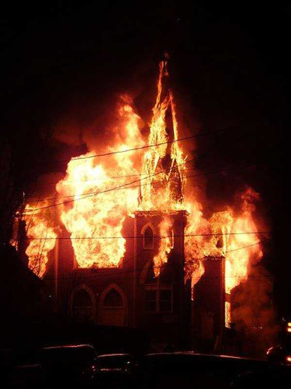 Churches Burned To The Ground In Protest To Satanic Pope