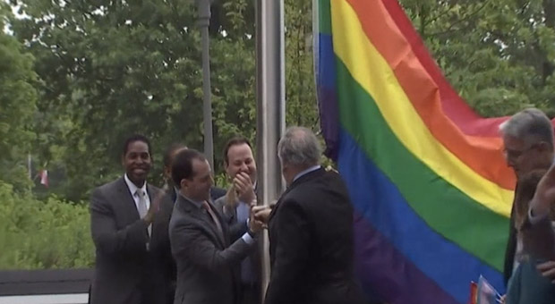 officials removed the veterans flag and replaced it with a gay pride rainbow