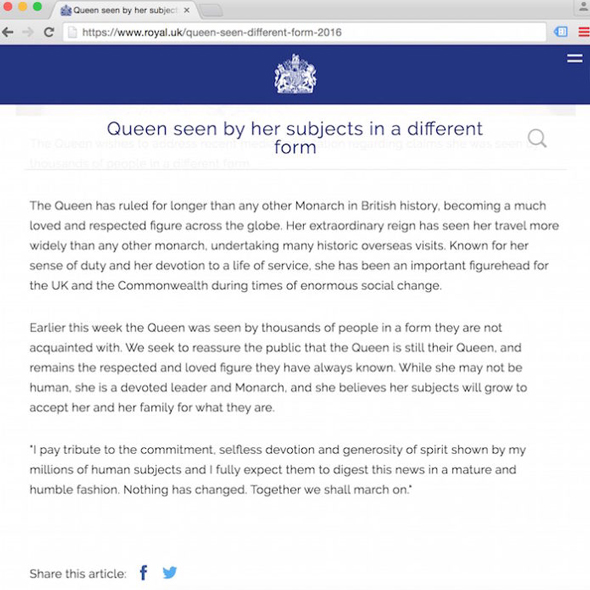 buckingham palace admits the queen is a shapeshifting reptilian