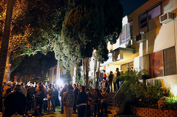 protesters gather outside ed buck s west hollywood home  demanding he is arrested