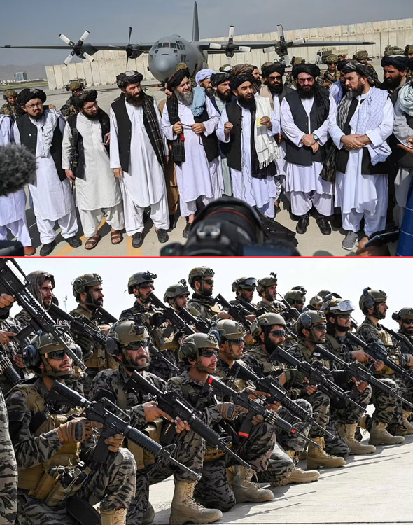 the taliban gathered in kabul airport to celebrate defeating biden and send a warning that their victory  is a lesson to the world