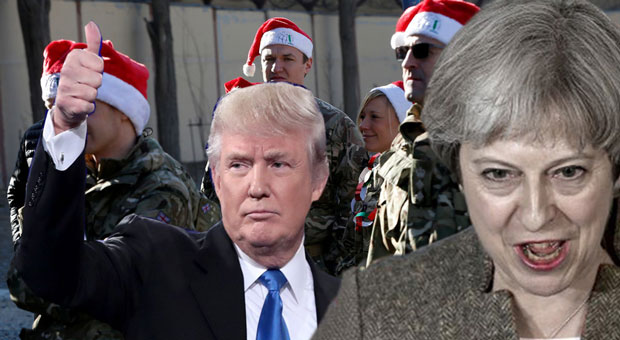 american troops were spoiled by president donald trump in comparison to theresa may