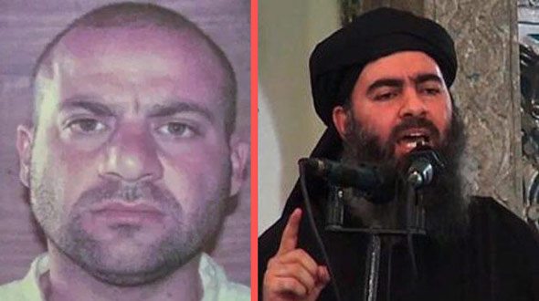 former saddam hussein officer abdullah qardash  left  took control of isis when abu bakr al baghdadi  right  was killed
