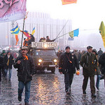Ukraine Protestors Use Bulldozer Against Police