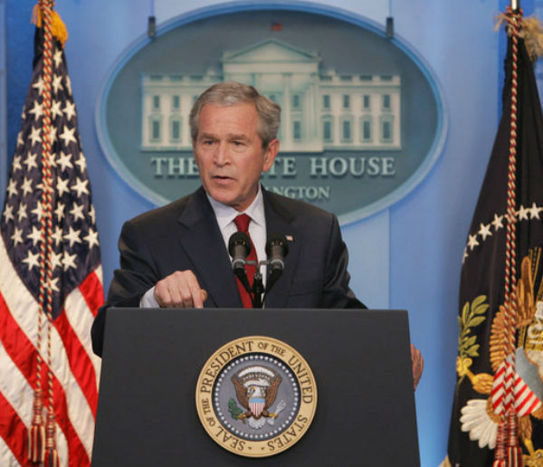 at a press conference on 15 september 2006 with george    dubya    bush  his notorious blunders may have really landed him in it